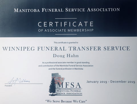 Certificate from the Manitoba Funeral Service Association awarded to Doug Hahn January 2019 - December 2019